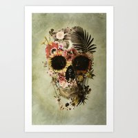 garden Art Prints featuring Garden Skull Light by Ali GULEC