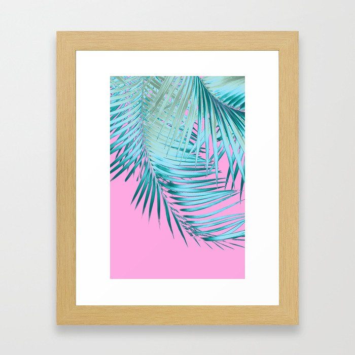 Palm Leaves Pink Blue Vibes #1 #tropical #decor #art #society6 Framed Art Print