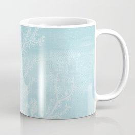 White Coral on Pale Blue Coffee Mug