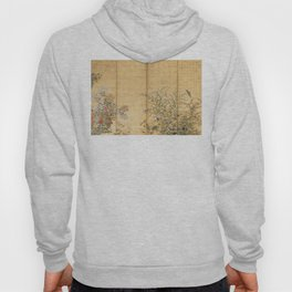 Japanese Edo Period Six-Panel Gold Leaf Screen - Spring and Autumn Flowers Hoodie