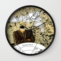 dead space Wall Clocks featuring Dead Space by Michael Harford