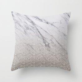 Beige glitter gradient on marble Throw Pillow