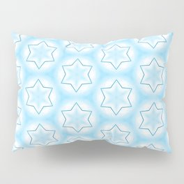 Shiny light blue winter star snowflakes pattern Pillow Sham