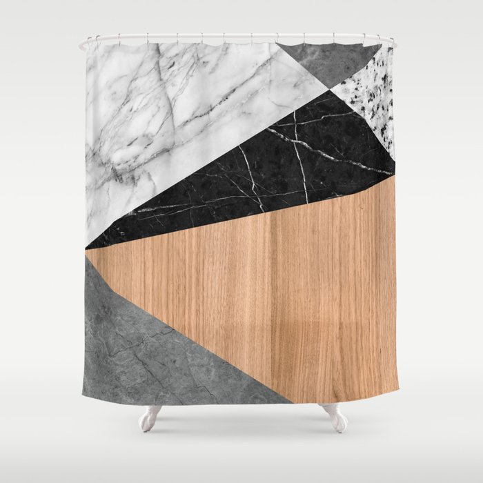 Marble Garnite Teak Wood Abstract Shower Curtain