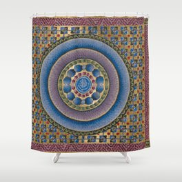 Armenian illuminated manuscript style concentric circles design Shower Curtain