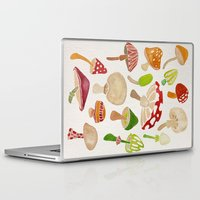 mushrooms Laptop & iPad Skins featuring Mushrooms by Cat Coquillette