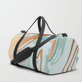 Royal gold teal abstract luquid marble texture Duffle Bag