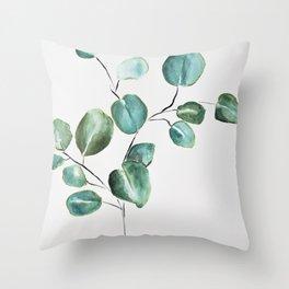 Eucalyptus leaves, illustration, botanical Throw Pillow