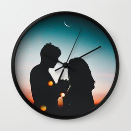 MAN - WOMAN - HANDS - LIGHTS - CIRCLES - PHOTOGRAPHY Wall Clock
