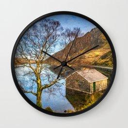 Boat House at Ogwen Lake Snowdonia Wall Clock