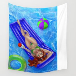 Redhead girl relaxing at the swimming pool Wall Tapestry