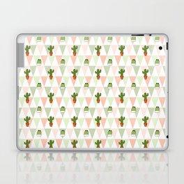Hand painted pink coral green geometrical cactus Laptop & iPad Skin