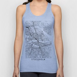 Stockholm White Map Unisex Tank Top