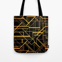 the great gatsby Tote Bags featuring Great Gatsby Style Pattern by Varvara Gorbash