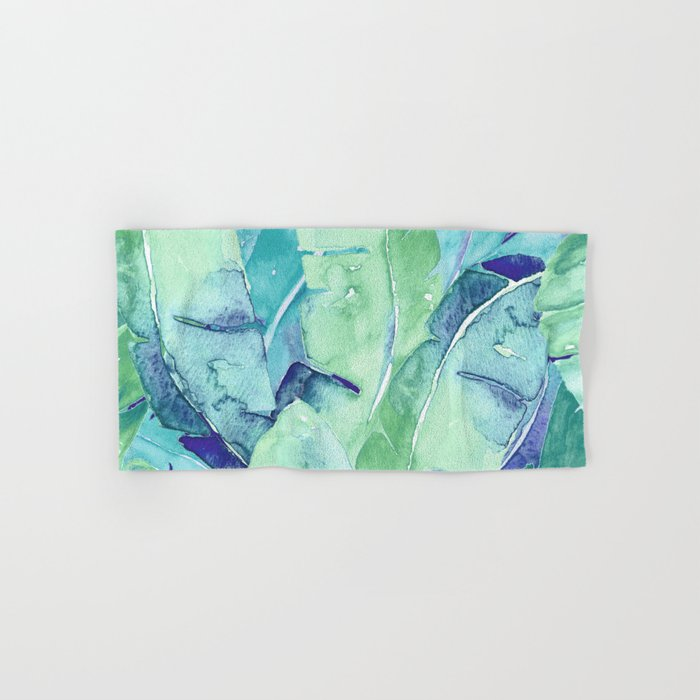 Banana Tree Leaves | Tropical  BLUE Watercolor Hand & Bath Towel