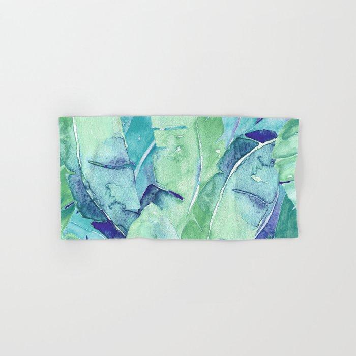 Banana Tree Leaves   Tropical  BLUE Watercolor Hand & Bath Towel