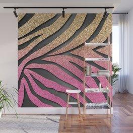 Gold Glitter & Pink Zebra Stripes on Dark Metallic Wall Mural