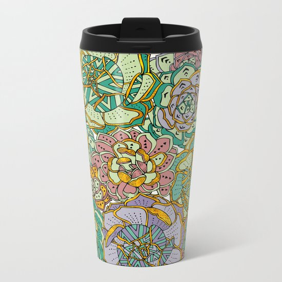 Blooming Succulents Metal Travel Mug
