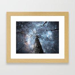 Wintry Trees Galaxy Skies Steel Blue Framed Art Print