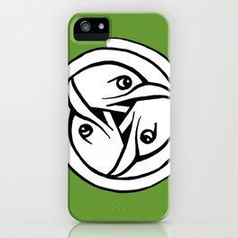 Celtic Art - Bird Head Triskele - on Green iPhone Case