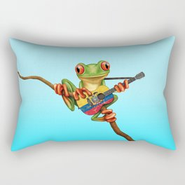 Tree Frog Playing Acoustic Guitar with Flag of Ecuador Rectangular Pillow