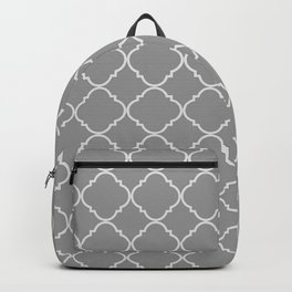 Gray Quatrefoil Pattern Grey Color Backpack