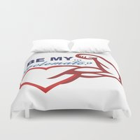 nutella Duvet Covers featuring Be Mine? by Free Specie