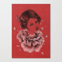 peony Canvas Prints featuring Peony by The White Deer