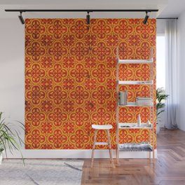 N67 - Yellow & Red Vintage Antique Geometric Traditional Moroccan Style. Wall Mural