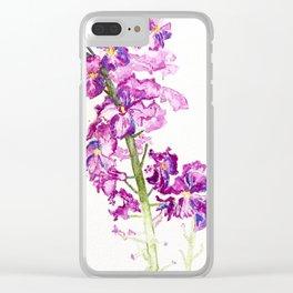 Purple Wildflower Watercolour Clear iPhone Case