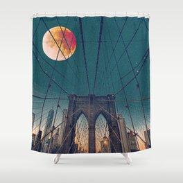 Blood Moon over the Brooklyn Bridge and New York City Skyline Shower Curtain