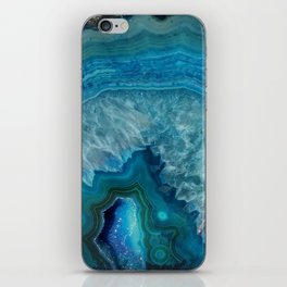 Blue agate marble faux druse crystal quartz gem gemstone geode mineral stone photograph hipster iPhone Skin