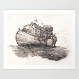 Hanging in a Houseboat Art Print