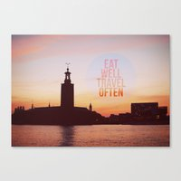eat well travel often Canvas Prints featuring Eat Well Travel Often by happeemonkee