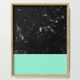 Mint Meets Black Marble #1 #decor #art #society6 Serving Tray