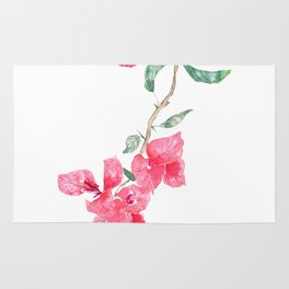 red  pink  bougainvillea watercolor Rug