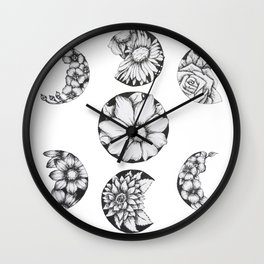 Phases Of The Flower Moon Wall Clock