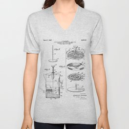 Coffee Filter Patent - Coffee Shop Art - Black And White Unisex V-Neck