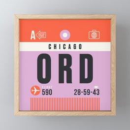 Luggage Tag A - ORD Chicago O'Hare USA Framed Mini Art Print