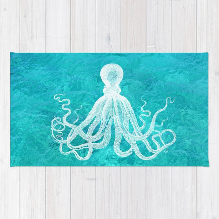 Nautical Decor Octopus In The Clear Turquoise Water Rug