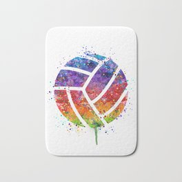Volleyball Ball Colorful Watercolor Art Sports Gift Bath Mat
