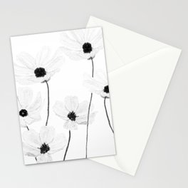 black and white cosmos Stationery Cards