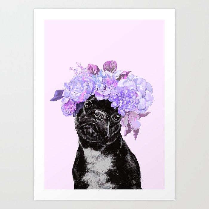 Bulldog with Flowers Crown Art Print