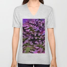 Foliage Abstract Pop Art In Ultra Violet and Purple Unisex V-Neck