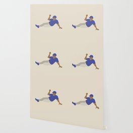 Baseball Player in Blue Sliding into Base, Flat Graphic Wallpaper