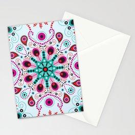Pointillism mandala   Light blue, red and purple Stationery Cards