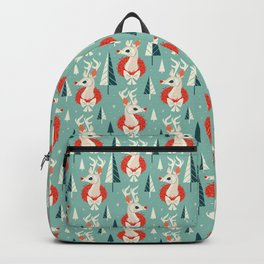 Woodland Reindeer (Light Blue) Backpack