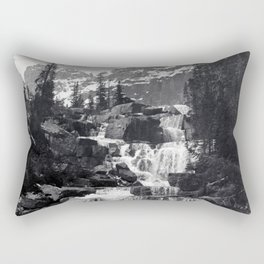 A stepped waterfall with Mount Temple and Mount Hungabee behind, Paradise Valley Rectangular Pillow