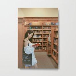Girl in the bookstore|California Metal Print