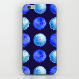 Winter Blue Watercolor Large Dots Pattern iPhone Skin